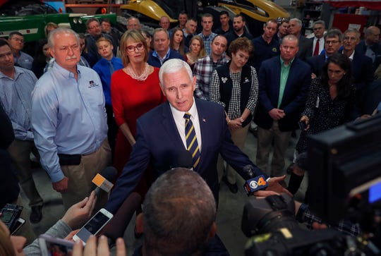 Vice President Mike Pence talks to the media after talking to famers and guests at Lamb Farms in Lebanon on Thursday, April 4, 2019.