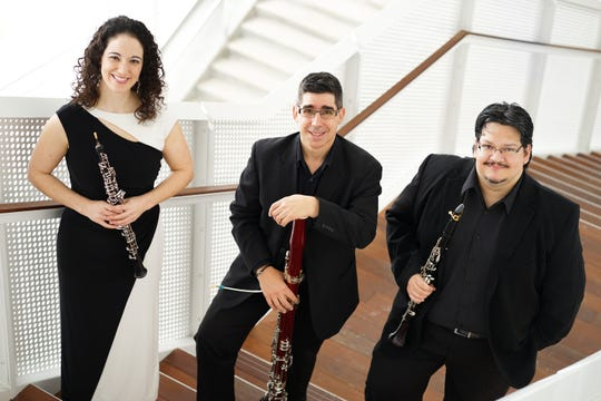 The Voxman reed trio is made up of Courtney Miller, Ben Coelho and Jorge Montilla.