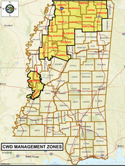The North Mississippi CWD Management Zone has been expanded to include 19 counties.