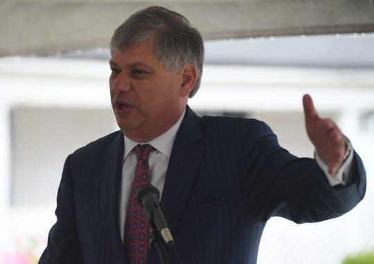 Matt Kisber gives remarks during the dedication of the Jonas A. Kisber, Jr. Memorial Roundabout, Thursday, April 4.