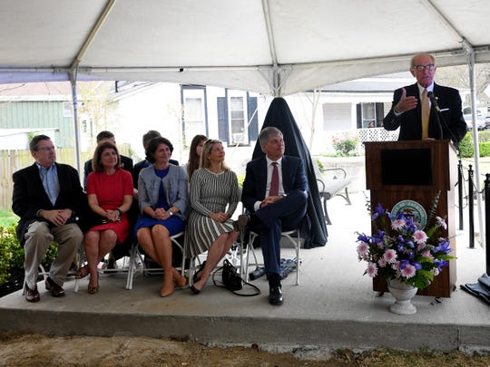 Jackson City Mayor Jerry Gist welcomes guest to the dedication of The Jonas A. Kisber, Jr. Memorial Roundabout, Thursday, April 4.