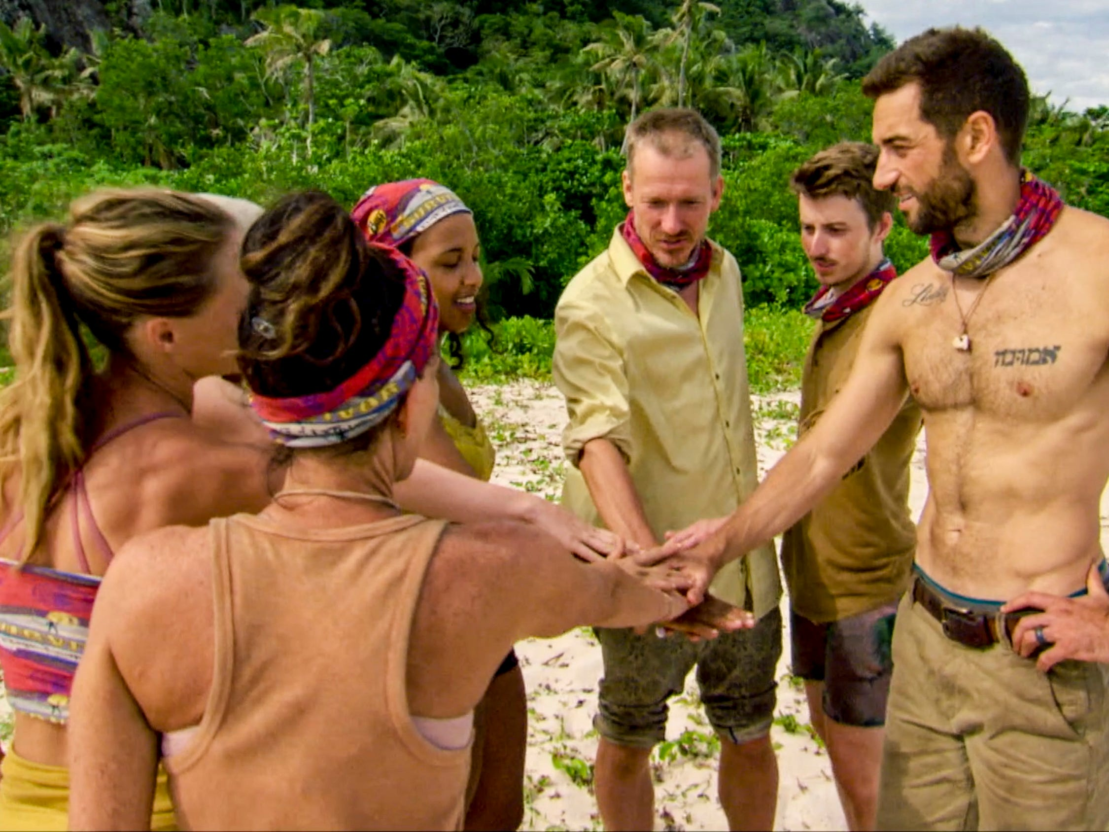 "From left are Aurora McCreary, Julie Rosenberg, Julia Carter, Ron Clark, Gavin Whitson and Eric Hafemann on ""Survivor: Edge of Extinction."""