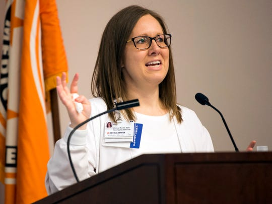 Suzy Sawyer tells her story about receiving a donated organ during the Gift of Life Ceremony held at UT Medical Center in Knoxville on Thursday, April 4, 2019.