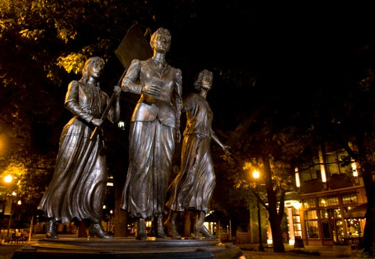 The Tennessee Women's Suffrage Memorial at the entrance to Market Square is pictured on July 20, 2009. The memorial was unveiled in August 2006 and was sculpted by Nashville's Alan LeQuire. The memorial depicts Tennessee suffragists Lizzie Crozier French, center, Anne Dallas Dudley, left, and Elizabeth Avery Meriwether.