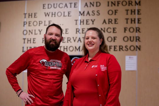 Aaron Neblett and Jennifer Smith-Margraf stand for a portrait in the hallways of Lafayette Jefferson High School, Thursday, April 4, 2019, in Lafayette. Teachers are calling attention to the need for more public education funding by walk-ins before school hours on Wednesday, April 10, 2019.