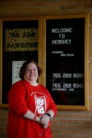 Sarah Williams, TSC education association VP and teacher at Hershey Elementary, poses for a photo, Thursday, April 4, 2019, in Lafayette. Teachers are calling attention to the need for more public education funding by walk-ins before school hours on Wednesday, April 10, 2019.