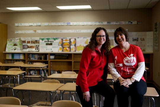 Andi Hipsher and Marydell Forbes, West Lafayette Educators Association co-presidents, sit for a portrait, Thursday, April 4, 2019, at West Lafayette Junior/Senior High School in West Lafayette. Teachers are calling attention to the need for more public education funding by walk-ins before school hours on Wednesday, April 10, 2019.