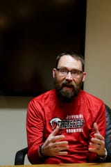 Aaron Neblett, a business teacher at Lafayette Jefferson High School, talks about the need for more public education funding, Thursday, April 4, 2019, in Lafayette. Teachers are calling attention to the need for more public education funding by walk-ins before school hours on Wednesday, April 10, 2019.