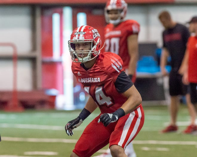 UL third-year sophomore safety Bralen Trahan practices with the Ragin' Cajuns at the Leon Moncla Indoor Practice Facility April 4. Trahan will play a key role in UL's 2019 secondary.
