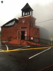 Mt. Pleasant Baptist Church burns.