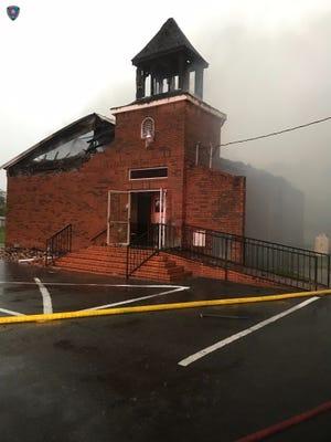 Mt. Pleasant Baptist Church burns.