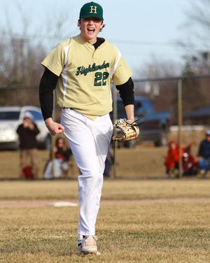Luke Russo comes off the mound after the final out of a no-hitter against Hartland on Wednesday, April 3, 2019.