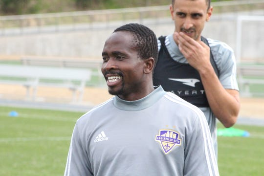 Louisville City FC forward Sunny Jane, Trinity High School graduate, smiles during practice.