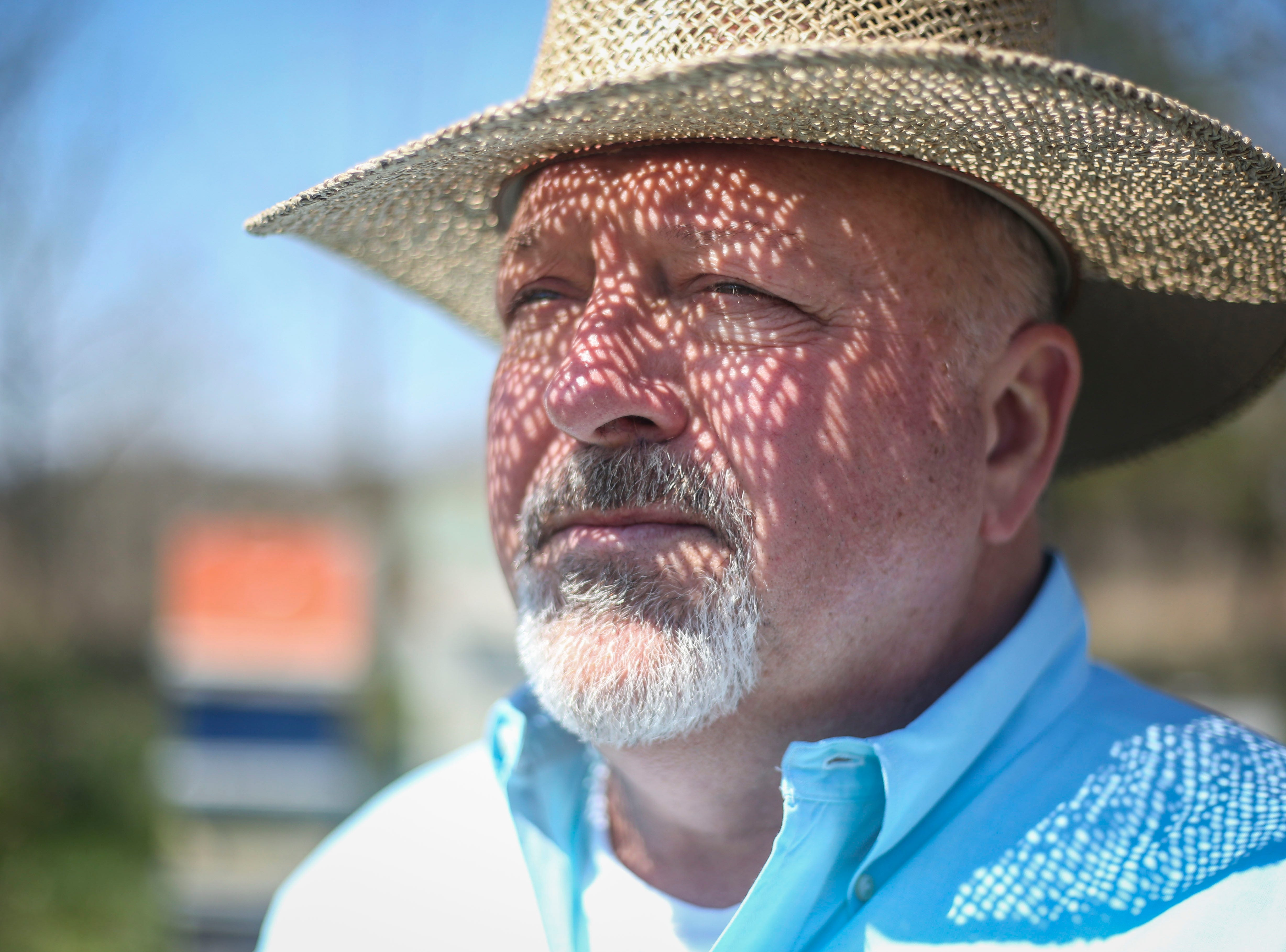 Richard Hosey, owner of Hosey Honey, a small family run honey company, stands for a portrait in his bee yard in Midway, Ky. on Wednesday, April 3, 2019. Their Hosey's Queen's Triple Crown honey is used in the sweetener in the $1,000 Woodford Reserve Kentucky Derby mint julep.