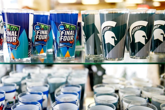Michigan State men's basketball Final Four cups on display at the Student Book Store on Thursday, April 4, 2019, in East Lansing.