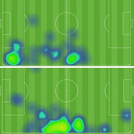 The heat maps of Steeve Saint-Duc (top) and Tumi Moshobane (bottom) during Lansing Ignite's win over Richmond on March 30, 2019.