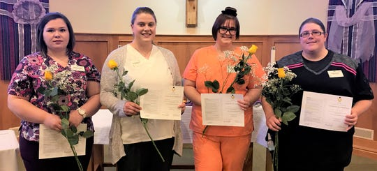 Four students recently graduated from Felician Village's onsite certified nursing assistant class. Pictured, from left: Mackenzie Lesjack, Stephanie Mulvaney, Elizabeth Neely and Sandra DeVore.