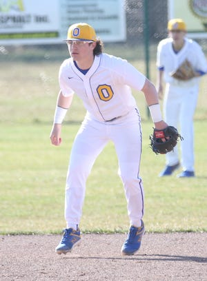Ontario's Avery Fisher hit .545 with four triples while also picking up two wins on the mound with a total of 15 strikeouts in the two Warrior wins last week. He struck out 10 in a win over River Valley.