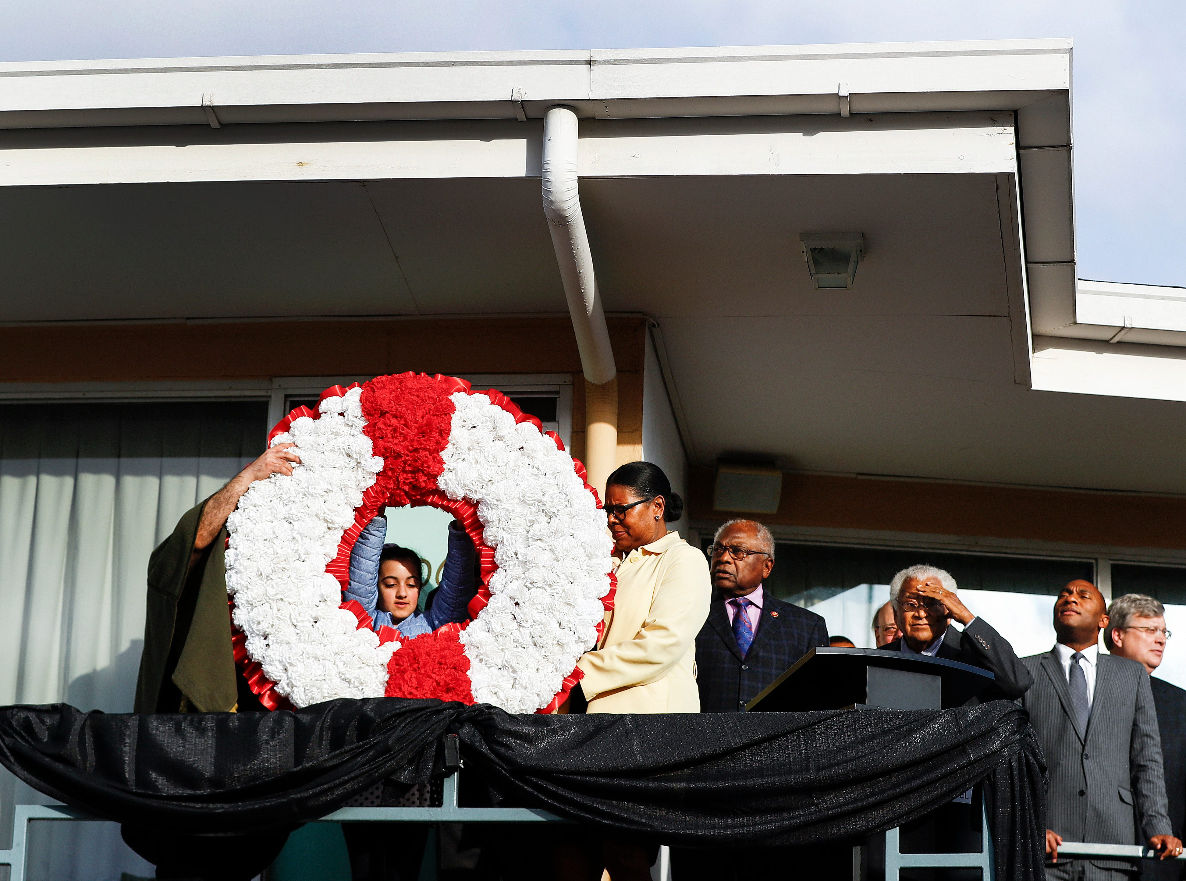 A wreath is placed in front of Room 306  at the National Civil Rights Museum on April 4, 2019, during a commemoration ceremony on the 51st anniversary of Dr. Martin Luther King, Jr.'s assassination.
