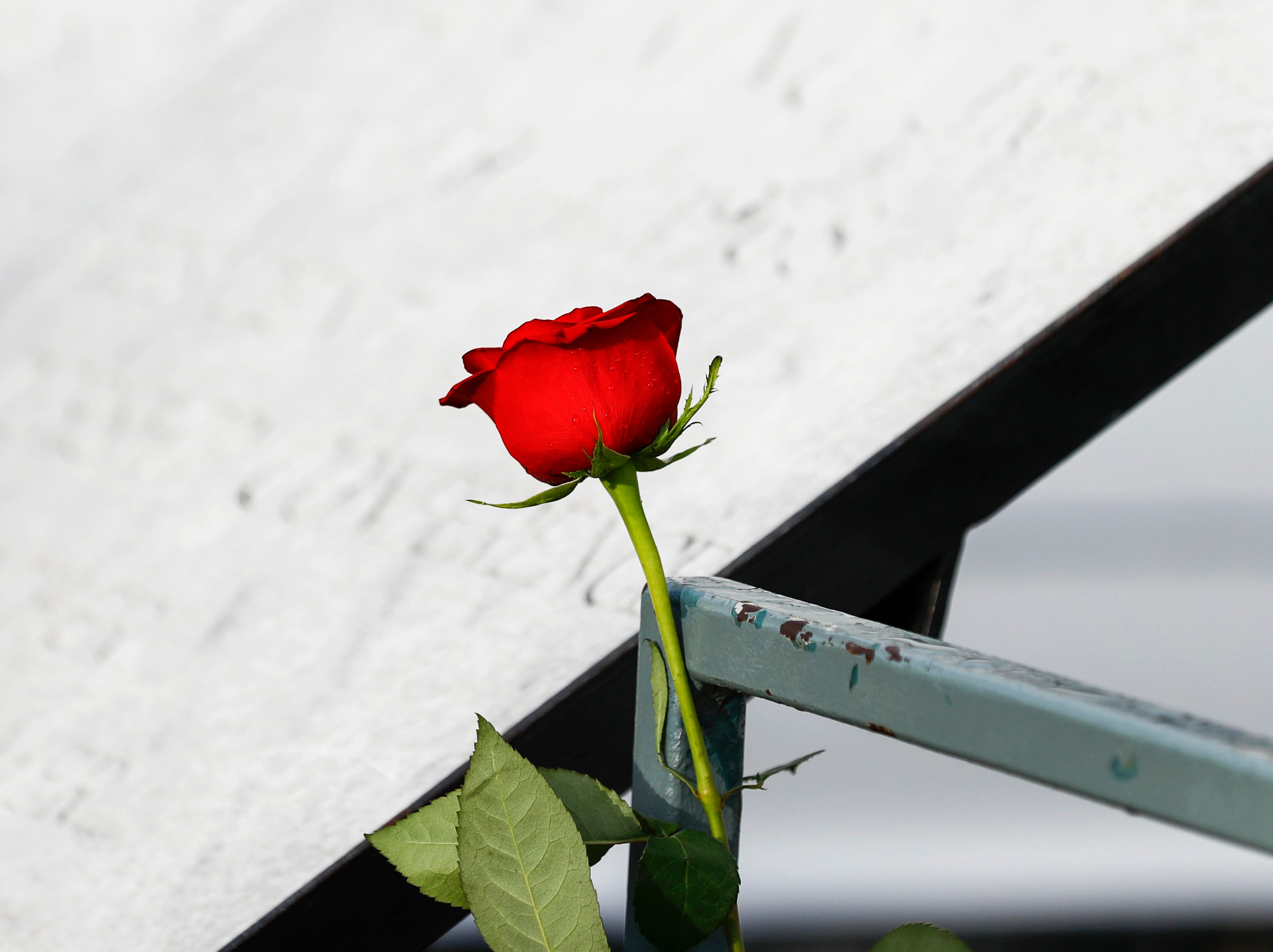 A rose is placed on a railing during a commemoration ceremony at the National Civil Rights Museum on April 4, 2019, on the 51st anniversary of Dr. Martin Luther King, Jr.'s assassination.