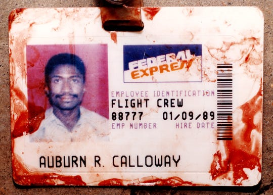 Auburn Calloway's bloody FedEx ID badge after his attack on the crew of Federal Express Flight 705.
