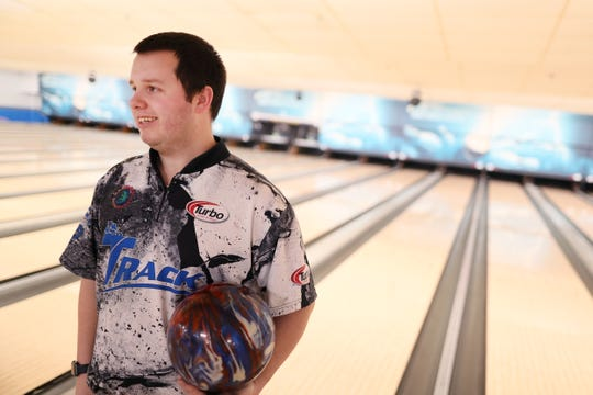 Mykel Holliman took second place out of 450 participants at the USBC masters tournament in Las Vegas, a pro circuit bowling event. He's seen here at Billy Hardwick's All Star Lanes where he competes in league bowling, on Wednesday, April 3, 2019.