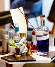 The Greyhound's Gin Trolley.  This new cocktail bar makes table-side Gin and Tonics.