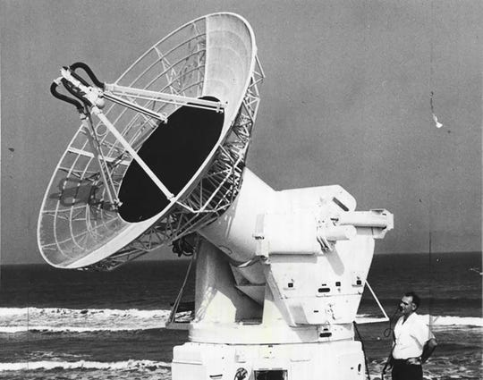 A radar antenna at the missile tracking station in 1961. The southern tip of Marco Island's beach spent years during the Cold War as a missile tracking station administered by the Air Force. Photo courtesy of Craig Woodward