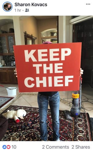 "Police Chief Al Schettino's executive assistant posts a picture of a sign that states ""Keep The Chief."""