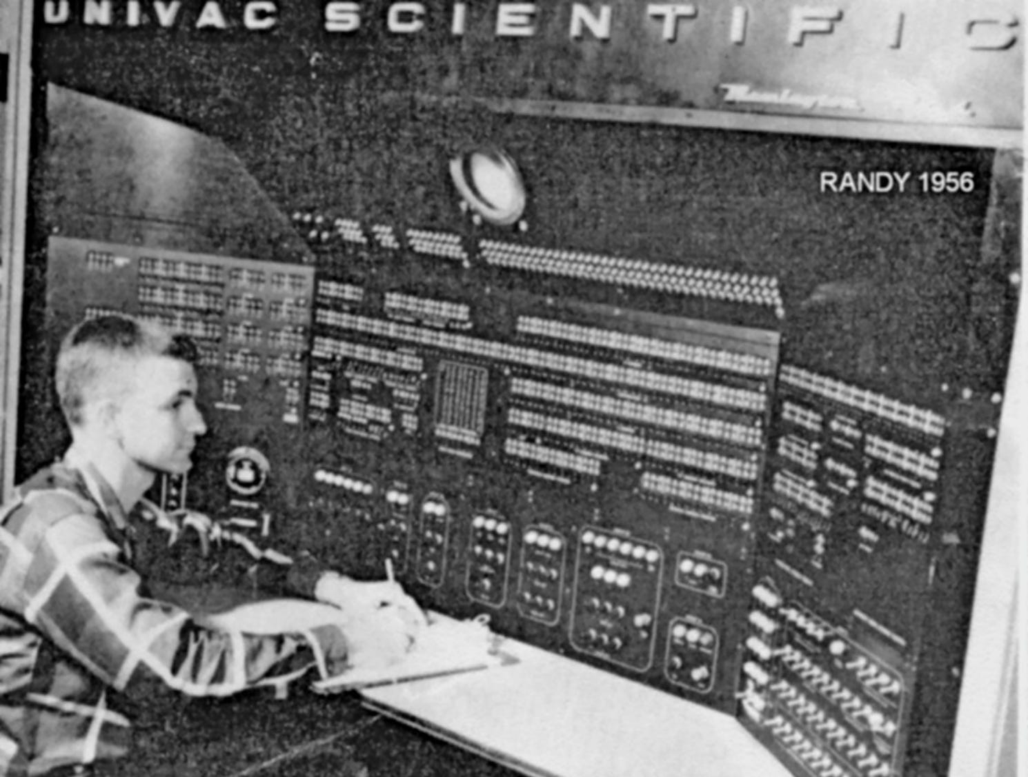 Randy Gilmore at the console of a Univac mainframe computer in 1956. The southern tip of Marco Island's beach spent years during the Cold War as a missile tracking station administered by the Air Force. Photo courtesy of Randy Gilmore