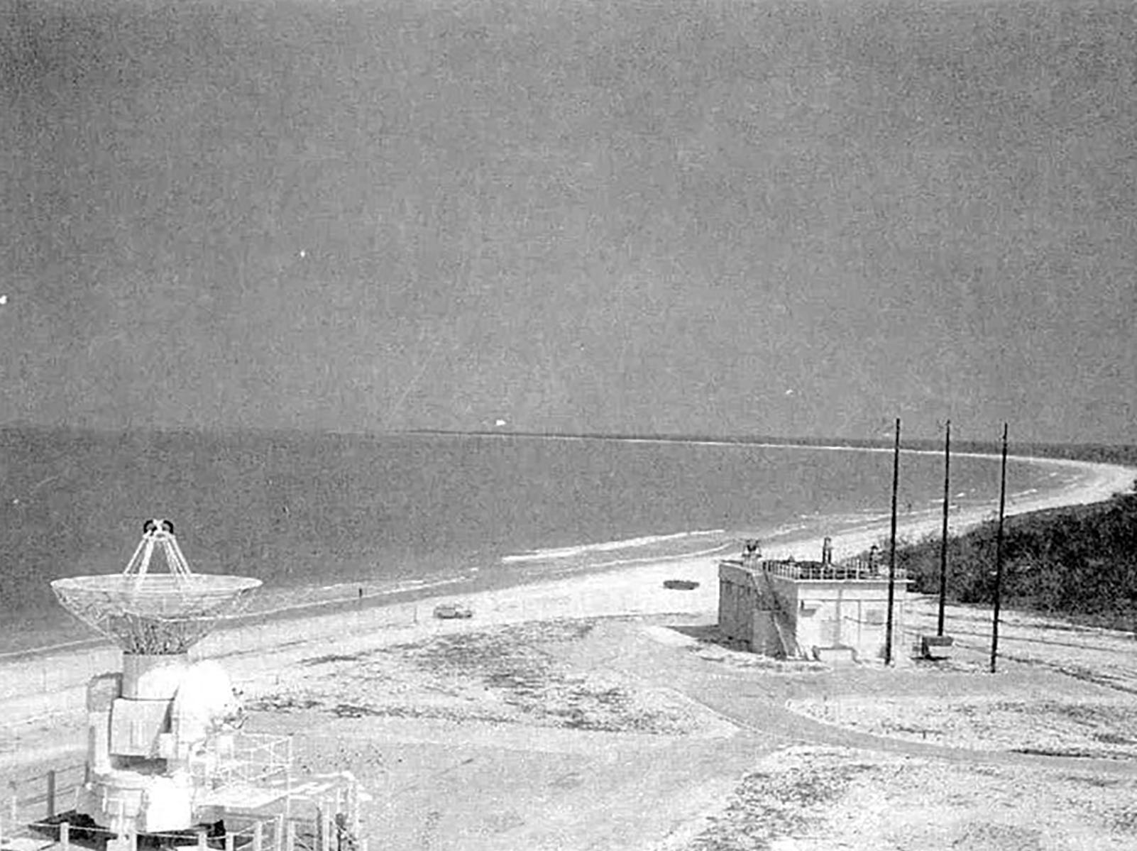 The missile tracking station showing a condo-less stretch of beach sweeping north. The southern tip of Marco Island's beach spent years during the Cold War as a missile tracking station administered by the Air Force. Photo courtesy of Craig Woodward