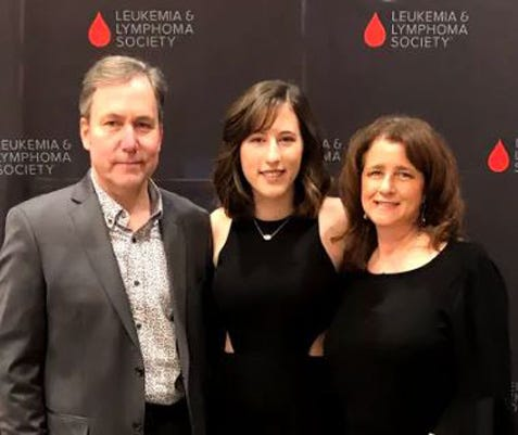 Mikayla Cup and her parents, John and Laura Cup, are seen here at the Leukemia & Lymphoma Society (LLS) celebration gala. Mikayla Cup  helped raise more than $35,000 for LLS.