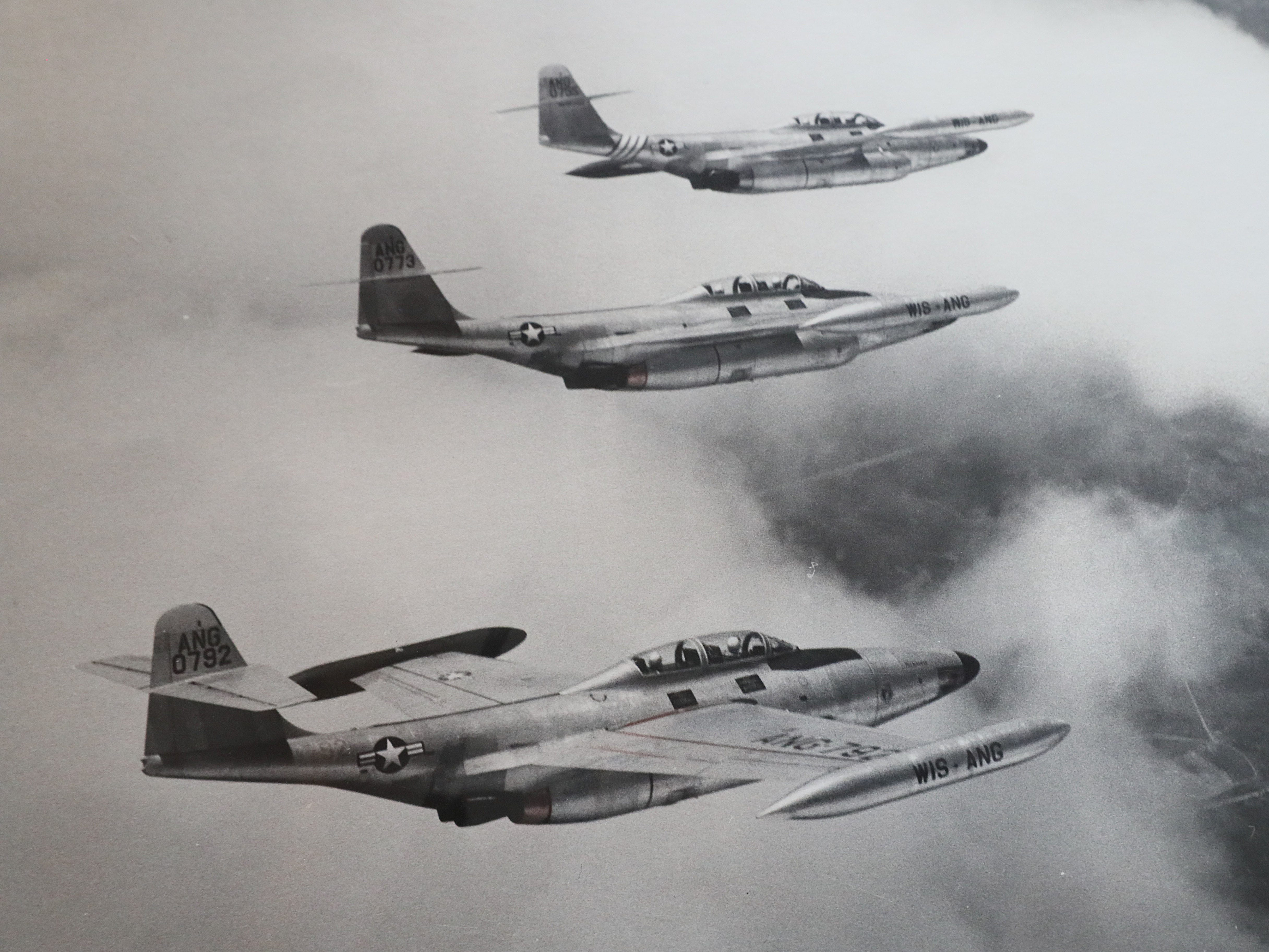 A photo of jets in the Wisconsin Air National Guard.