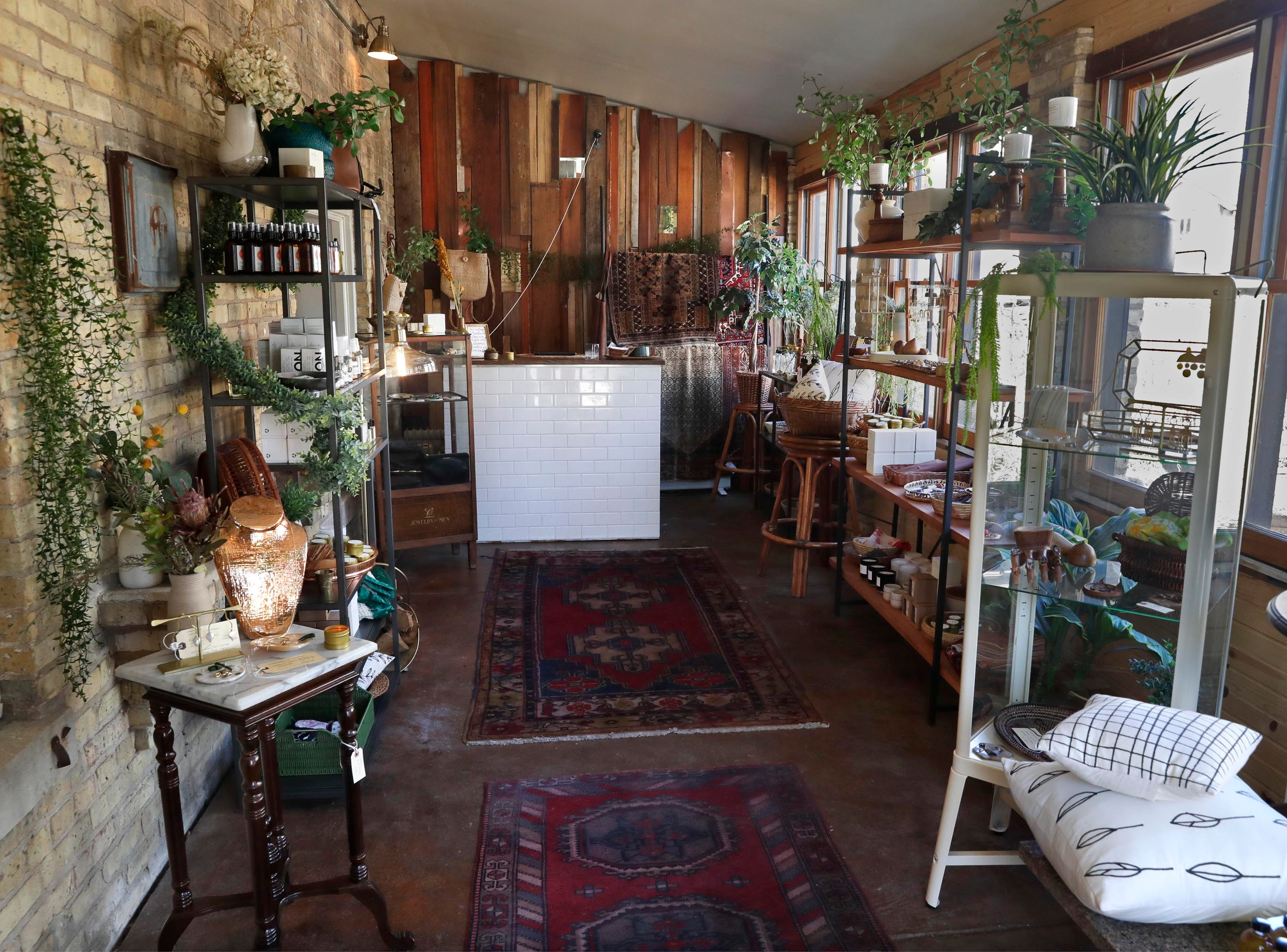 Whitney Schaefer's shop at the back of the building, Orange and Blue Co., carries vintage items and new, handmade goods including jewelry and leather purses. It can be reached from the restaurant or through its own entrance at 1809 N. Hubbard St.