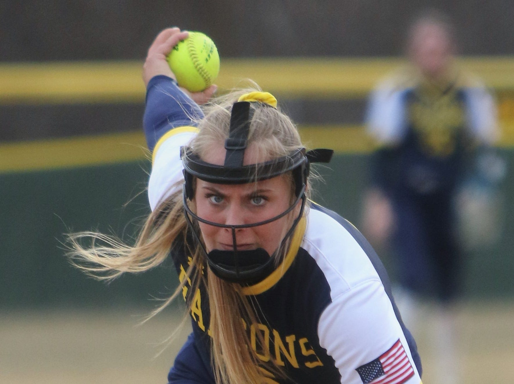 Whitnall pitcher Haley Wynn glares into home plate prior to throwing a pitch against Greenfield on April 3, 2019.