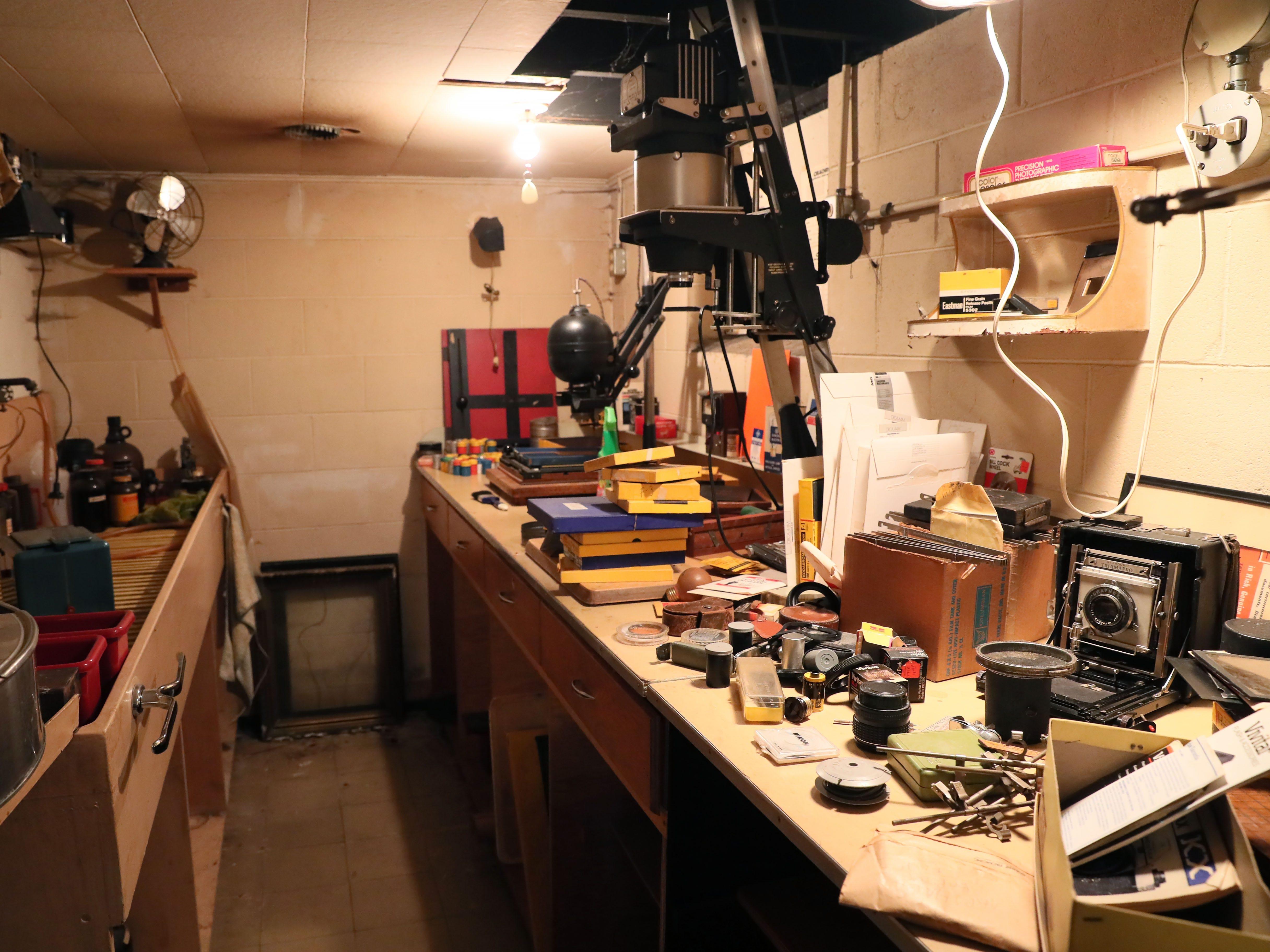 This is Jake Skocir's basement darkroom.
