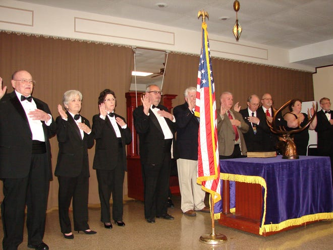 A fresh slate of Officers was elected by the membership of the Elks Lodge in Mountain Homeand were installed in their new positions on March 30.The ceremonies were ledby past Exalted Ruler Diane Pierceand each of the new officerswas placed under the direction of a past ER.The Installation of Officers for 2019-2020 was followed by thean Awards Banquet with special recognition given to the Officer of the Year for 2018-2019and the Elk of the Year.