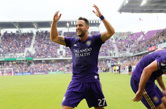 Orlando City SC defender R.J. Allen gets pumped after a goal against the Portland Timbers during the second half at Orlando City Stadium. Mandatory Credit: Kim Klement-USA TODAY Sports