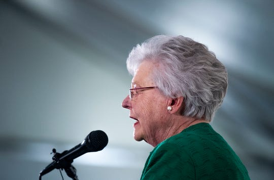 Governor Kay Ivey speaks to students as the Higher Education Day, sponsored by the Higher Education Sponsorship, is held in Montgomery, Ala., on Thursday April 4, 2019.