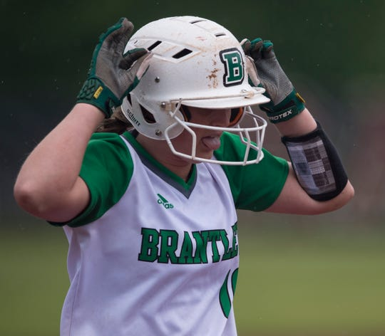 Brantley's Kassidy Wilcox (10) celebrates her home run at Prattville High School in Prattville, Ala., on Thursday, April 4, 2019. Prattville defeated Brantley 8-7.