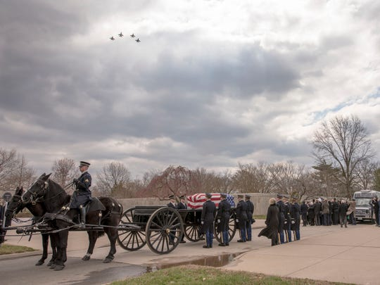 Four F-16 Fighting Falcons with the 100th Fighter Squadron, 187th Fighter Wing, Dannelly Field, Ala., fly in a Missing Man Formation during a full military honors funeral for Capt. Lawrence E. Dickson March 22, 2019, at Arlington National Cemetery, Va. Dickson was a Tuskegee Airman with the original 100th FS whose plane crashed in December of 1944. After being declared missing in action, Dickson's remains were identified in November 2018.