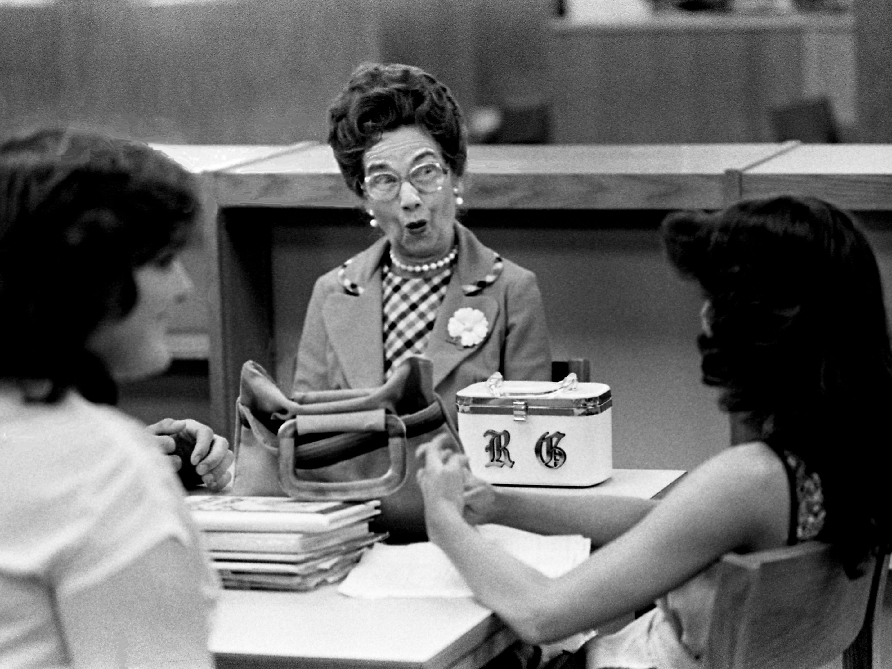 """Mrs. Ruth Gifford, left, acts a little surprised when Mount Juliet High School senior Dianne Miller, right, tells the visitor about some of the daily activities at the school April 25, 1979. Senior citizens are making three-day visits to the Wilson County schools for the """"Senior-Senior Days"""" program."""