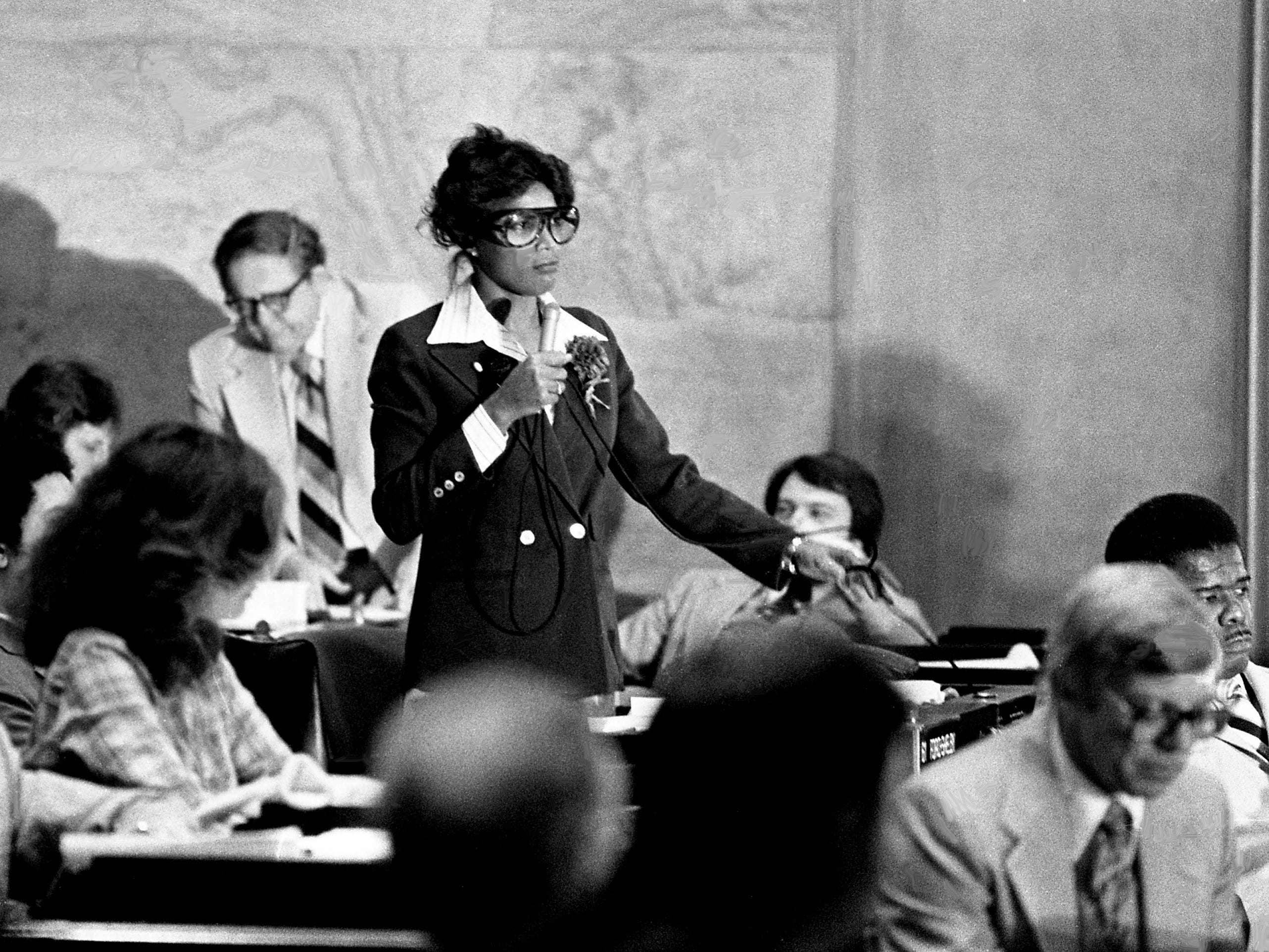 """Rep. Lois DeBerry, D-Memphis, center, argues that legislation providing the death penalty in Tennessee by lethal injection is """"a bad bill"""" before members at the state Capitol on April 11, 1979. The House voted 60-29 to return the legislation to the committee, effectively ending debate on the subject this session."""