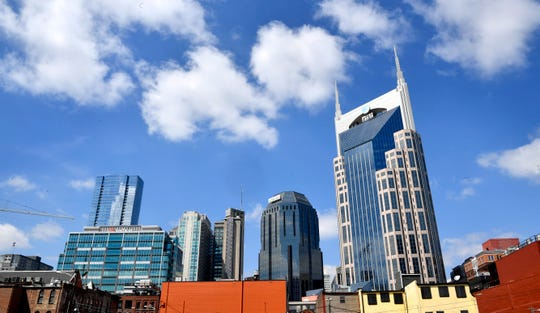 The Nashville skyline as seen from just South of Broadway near 4th Ave.
