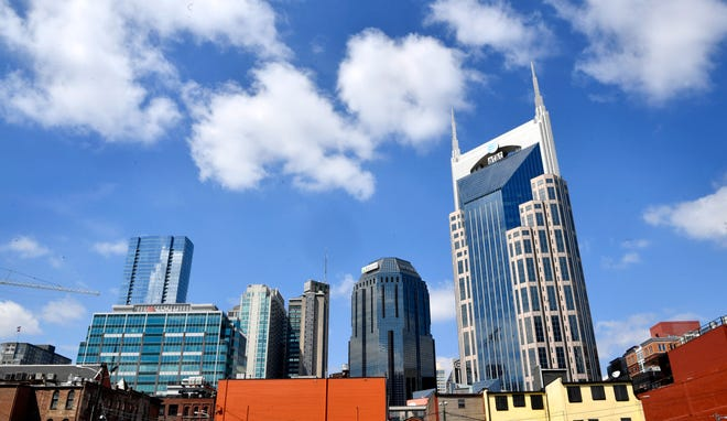 The Nashville skyline as seen from just South of Broadway near 4th Ave. March 31, 2019.