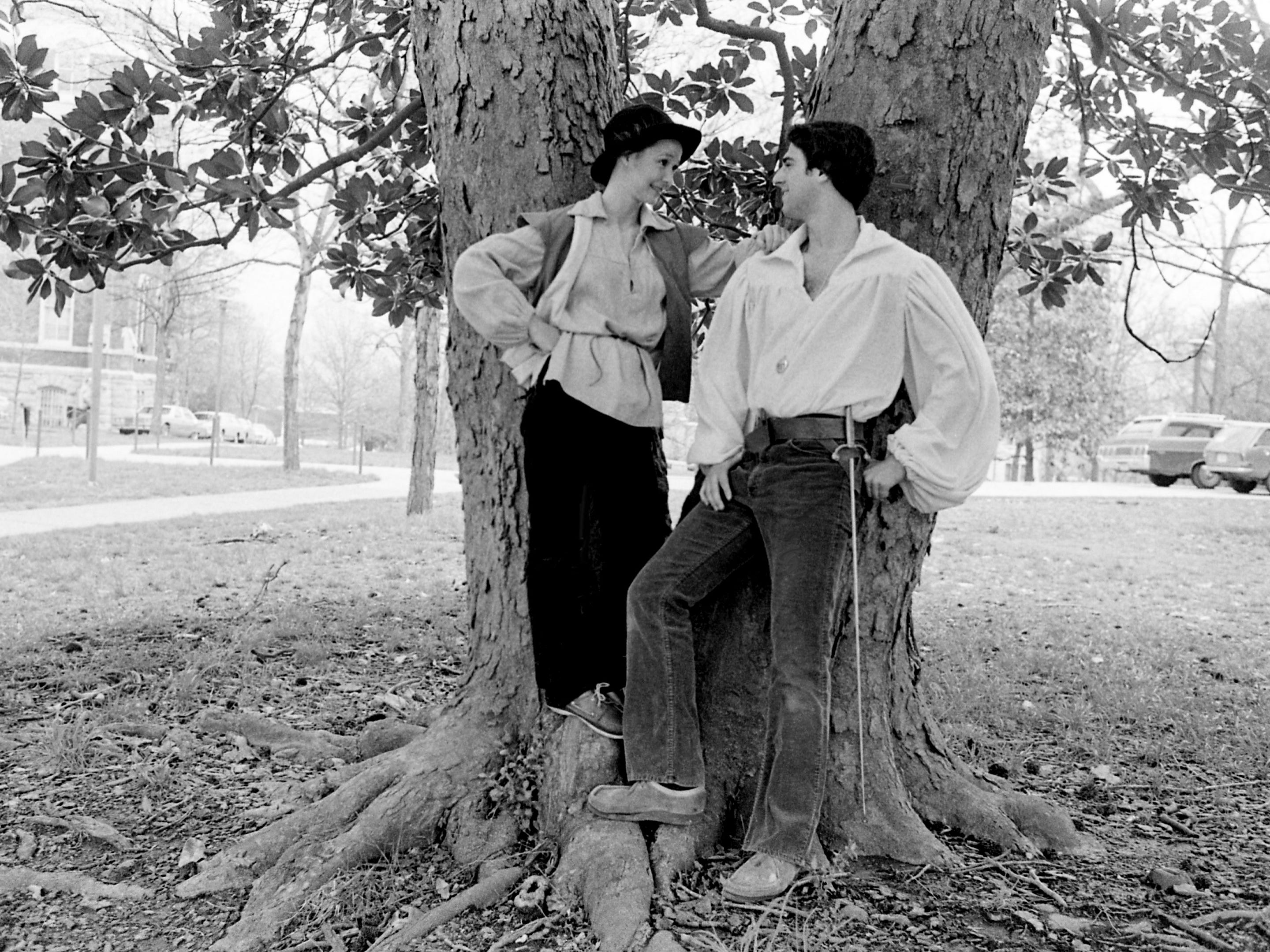 """Sally Hubbard, left, and Alex Stuhl, who play Rosalind and Orlando in Shakespeare's """"As You Like It"""" for the Vanderbilt University Theater, pose on April 4, 1979, for promotion photo on campus."""