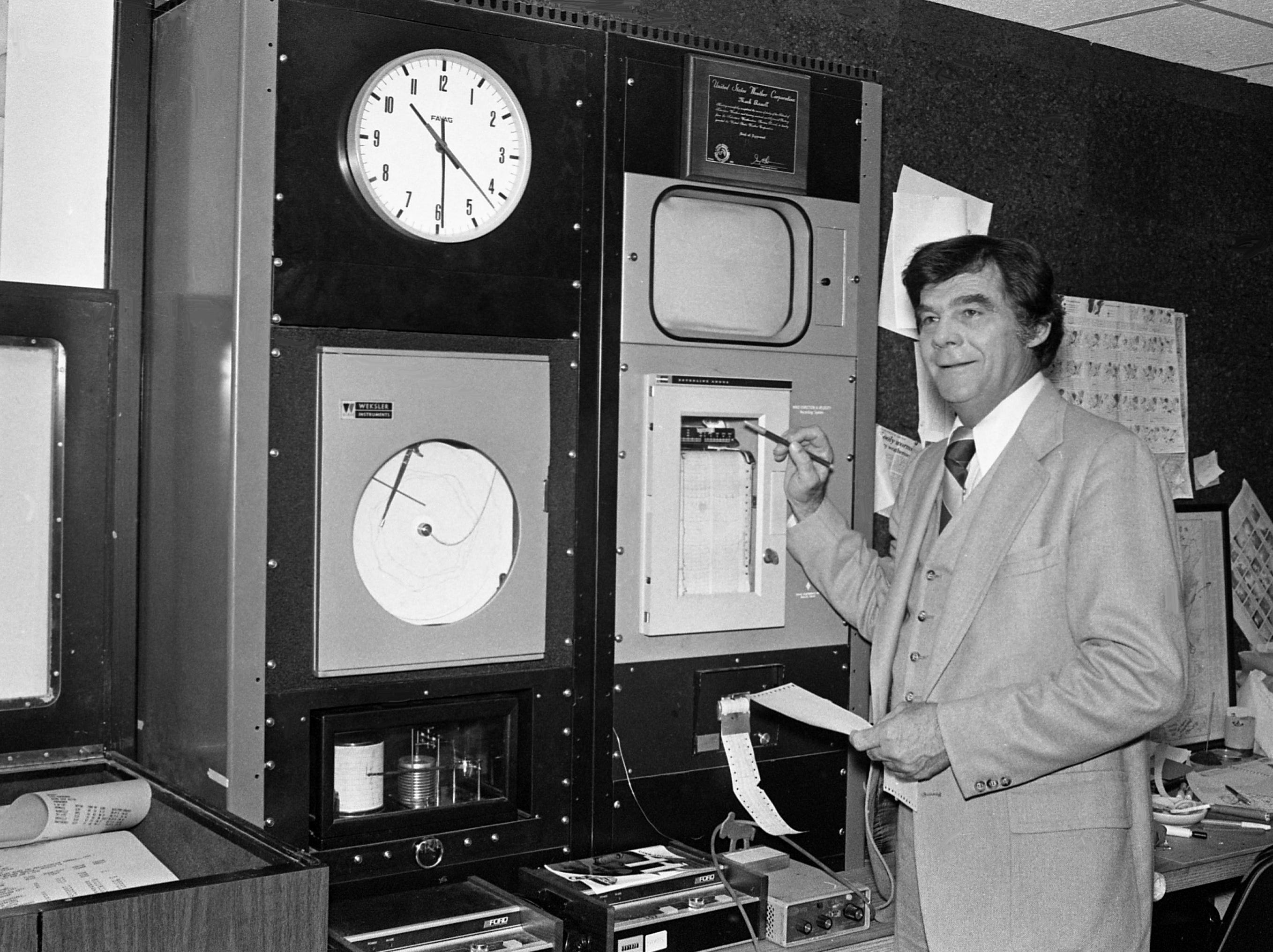 Former WSM-TV personality Boyce Hawkins is hard at work April 8, 1979, on his new job as weatherman for WTVF-Channel 5. He is replacing Mark Russell who resigned to accept a position at KATV in Little Rock, Arkansas.