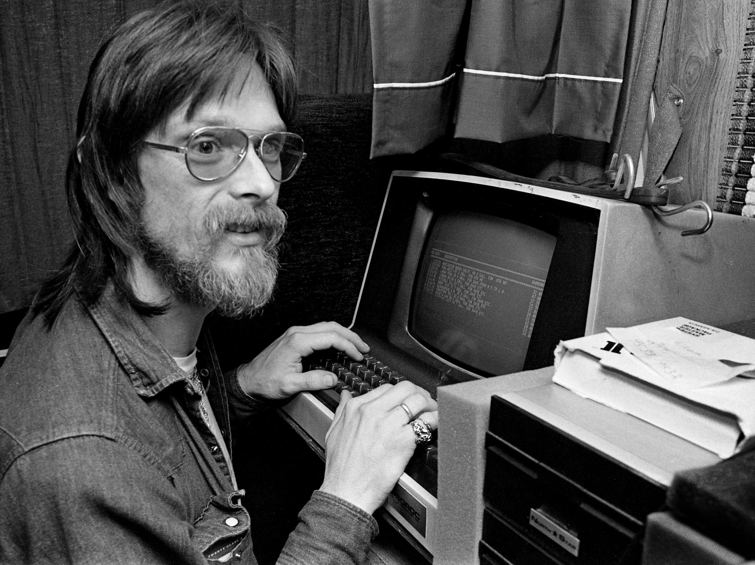 No matter how much he spends in road expenses, singer/songwriter Shawn Phillips gets no arguments from his book keeper, an IMSAI computer that he carries in his mobile home. He is typing his expenses from a trip to Italy while in the mobile home parked on the back lot of the Exit/In on Elliston Place on April 5, 1979.