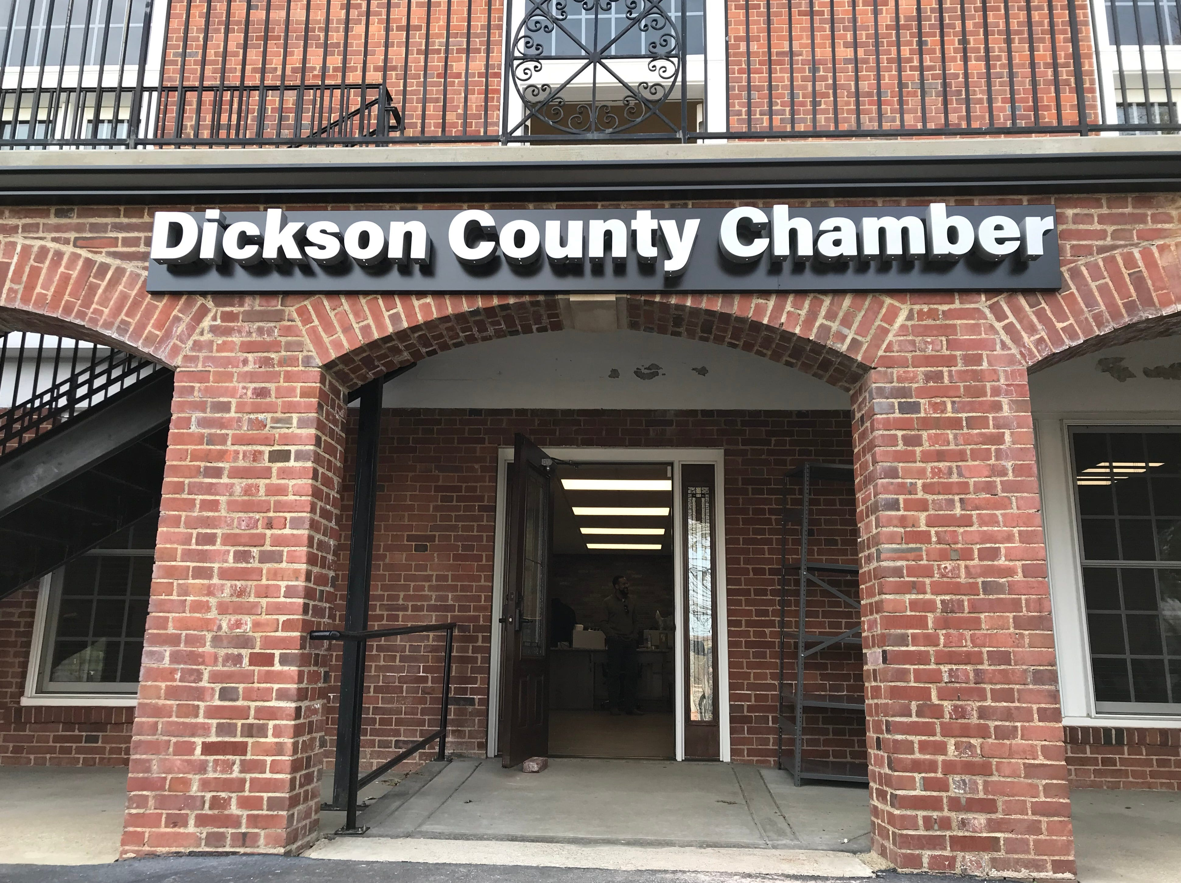 The new sign for the The Dickson County Chamber of Commerce recently built offices in the back, bottom floor of the War Memorial Building in Downtown Dickson.