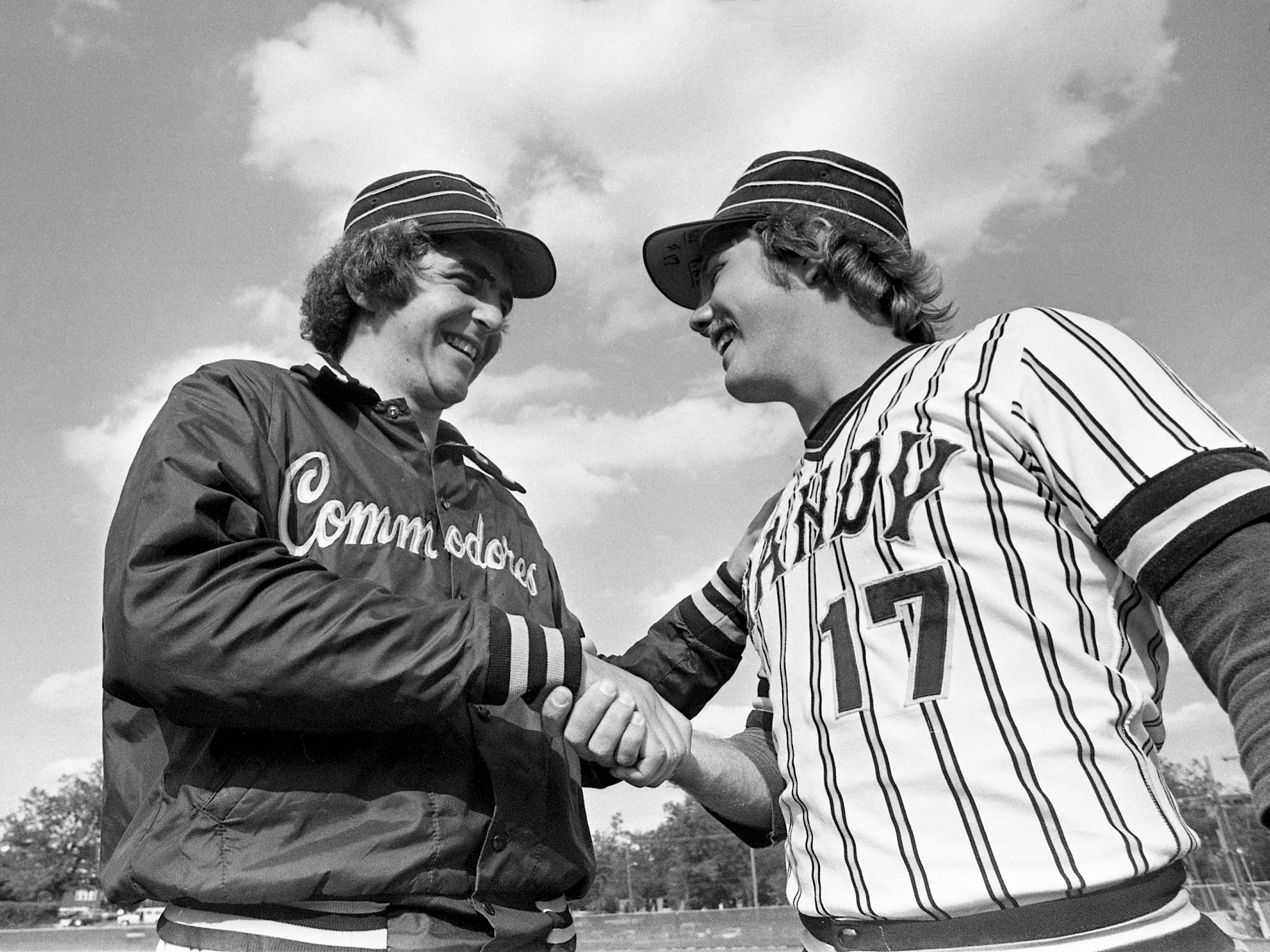 Vanderbilt sophomore pitcher Mike McCarthy, left, appears happy to have won his first SEC game as he receives congratulations from teammate Mike Pike after defeating Florida 7-6 in the first game of the doubleheader April 27, 1979. Pike hit his 10th home run of the season in the victory.